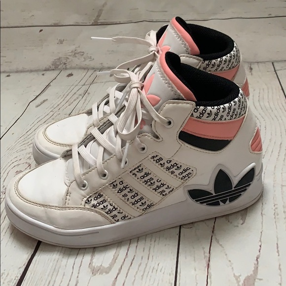 Adidas originals high tops pink tops girls youth